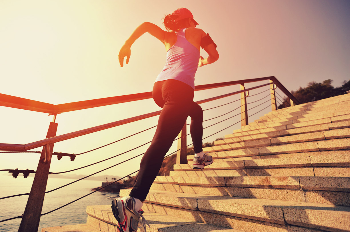 woman running stairs
