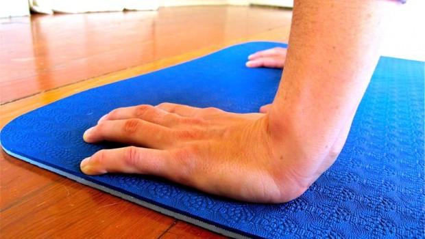 photo of wrists on yoga mat